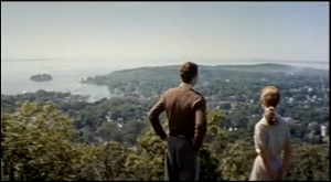 Scene from Mt. Battie, looking over Camden Harbor with Penobscot Bay in the distance